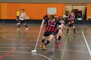 Die U18-Junioren im Einsatz im Heimspiel gegen Unihockey Mittelland (Foto: Simon Abächerli)