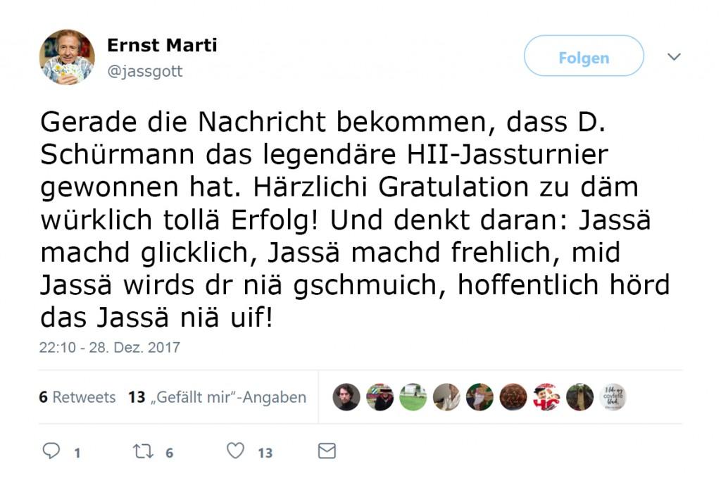 Tweet vom Ärnst Marti